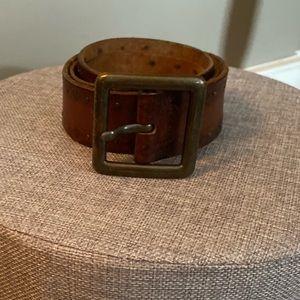 Vintage tooled brown letter belt